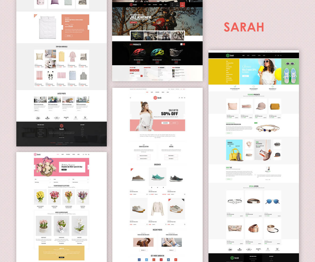 SARAH – Minimal Fashion Style Shopify Theme – Sections Drag &Drop Page Builder + Furniture & Decor, Kids