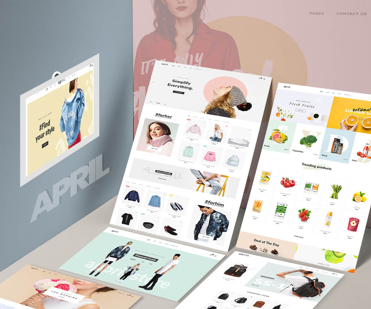 APRIL – Sectioned Shopify themes 20+ minimal creative designs for fashion, jewelry, furniture food
