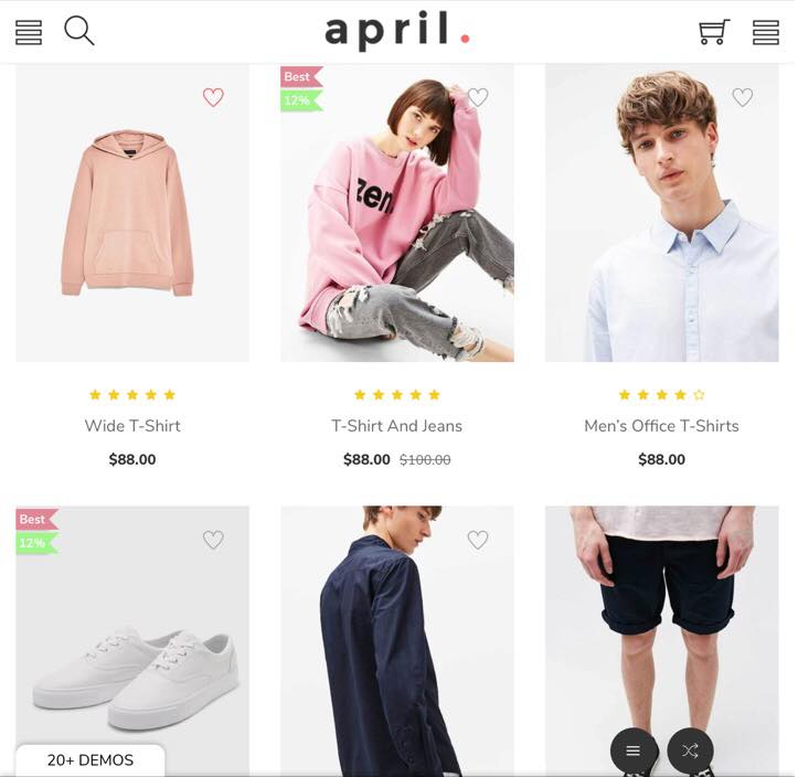 Shopify April-02 Theme on Tablet