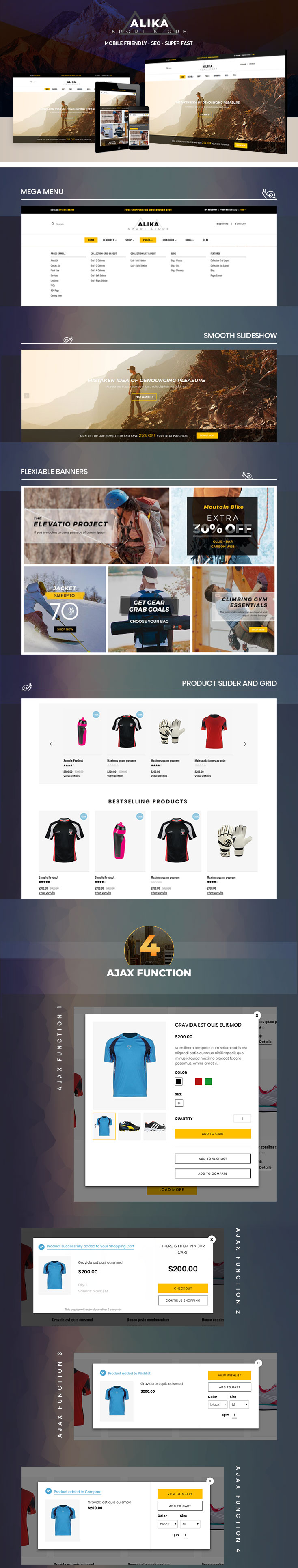 Why is Alika a best choice Shopify theme for store selling outdoor sport gear, hiking clothes and equipment?
