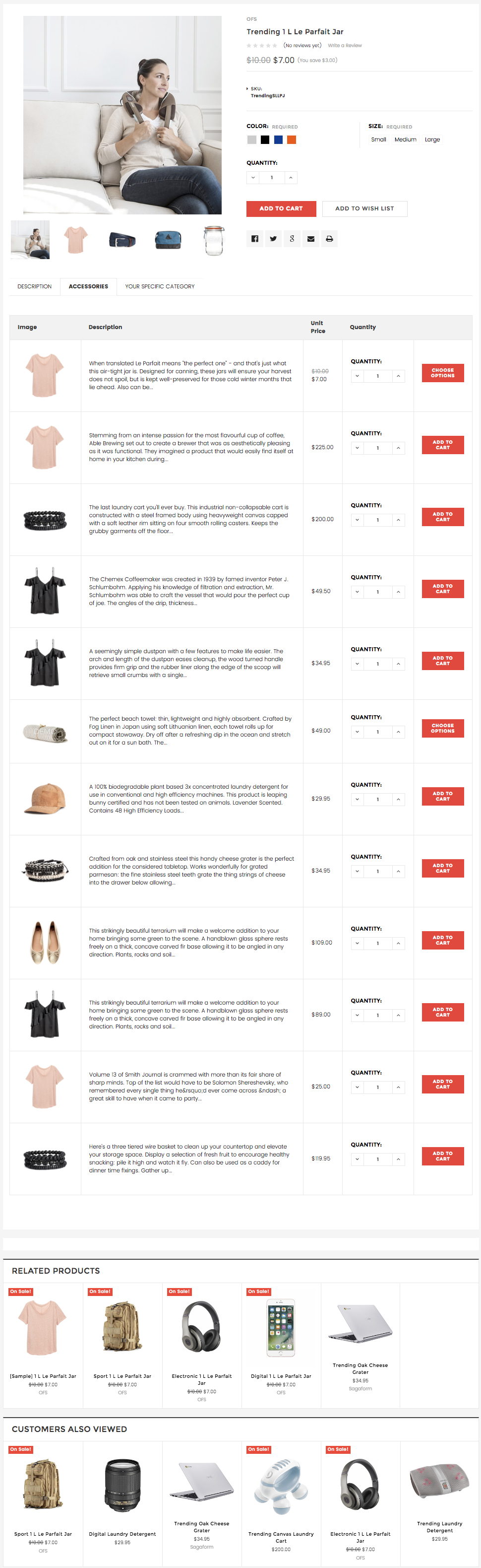 Sample product layout with associated products