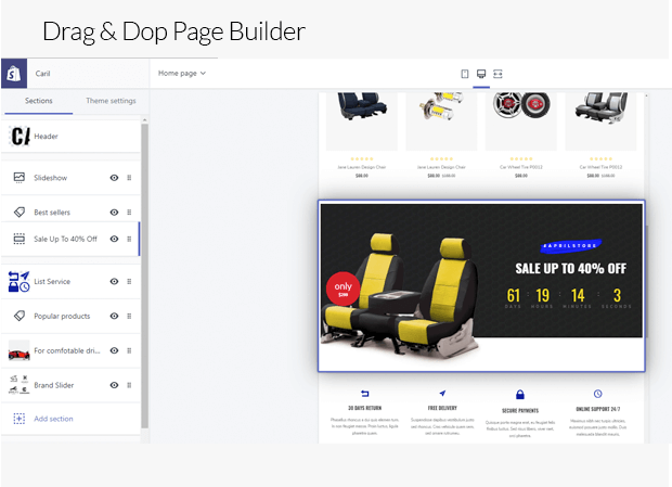Section Drag & Drop Page Builder