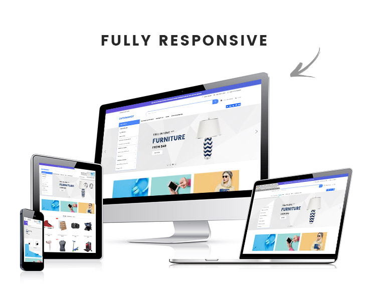Shopify responsive theme on mobile, tablet, desktop