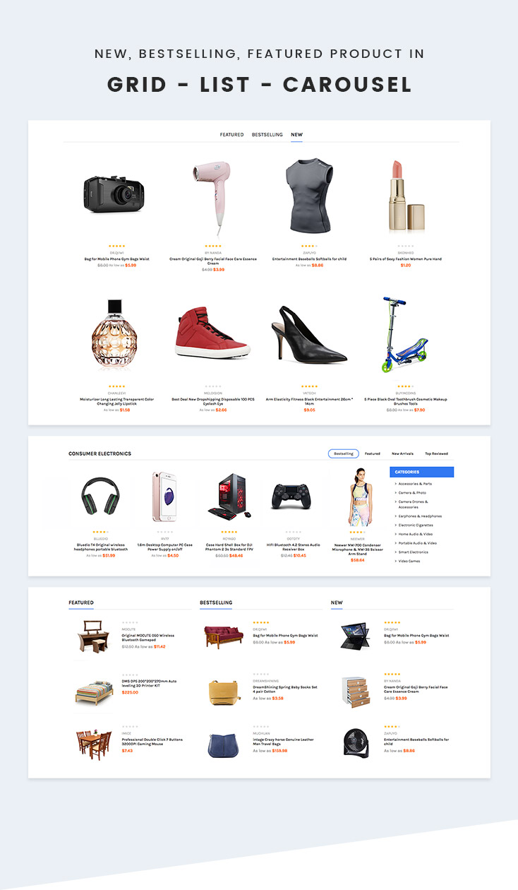 products grid list and carousel in Shopify